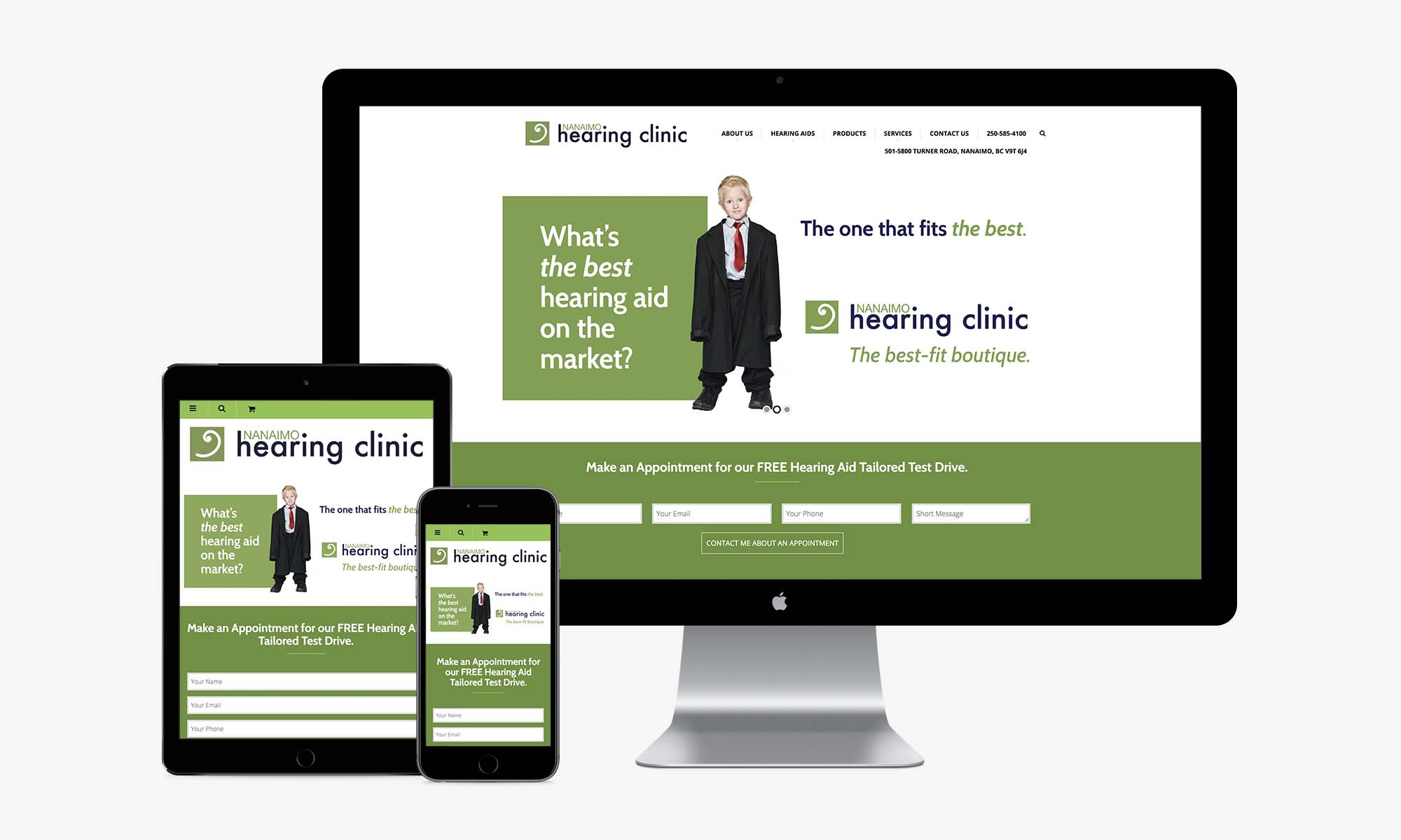 Nanaimo Hearing Clinic responsive web design by Better Mousetrap Marketing