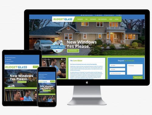 Marketing samples from our work with Budget Glass in Nanaimo, including marketing planning, web design, advertising campaigns, and creative writing.