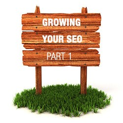 sign that says growing your seo on a patch of green grass